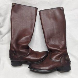 Frye Melissa Button Back Riding Boots 6 Brown